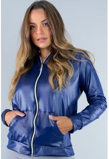 Casaco Mvb Modas Jaqueta Com Capuz Cirre Azul