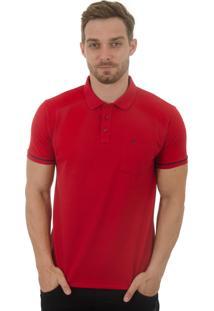 Camisa Polo Olimpo Camisaria Piquet Com Bolso Manga Curta Vermelho