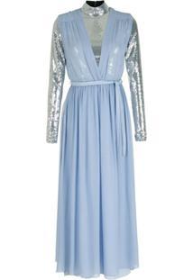 Nk Vestido Longo De Seda Com Body De Metalizado - Azul