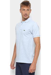 Camisa Polo Lacoste Mescla Masculina - Masculino-Azul Piscina