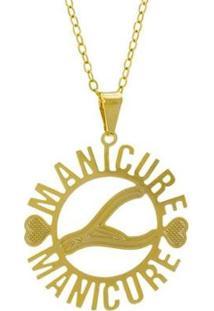 Gargantilha Horus Import Manicure Banhada Ouro 18K Feminina - Feminino-Dourado