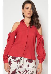 Blusa Lisa Com Vazados - Vermelhadudalina