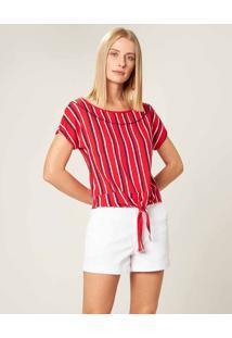 Blusa Sustentável Com Amarração Malwee Vermelho - Xgg