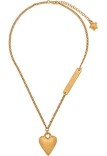 Versace Colar Com Pingente De Coração - Dourado