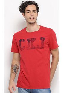 Camiseta Calvin Klein Ckj Masculina - Masculino-Vermelho
