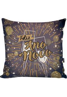Capa Para Almofada Happy New Year- Roxo Escuro & Preta