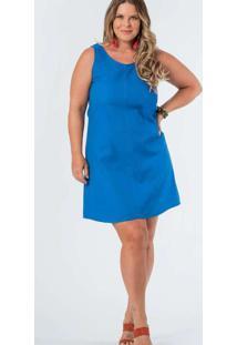 Vestido Almaria Plus Size Munny Curto Liso Azul