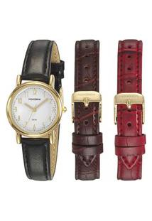 Kit Relógio Feminino Mondaine Analógico 83485Lpmkdh3 + Troca Pulseiras Dourado
