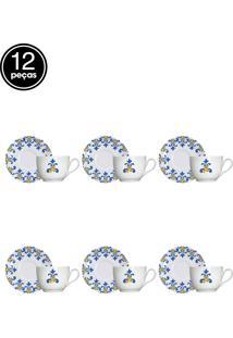 Conjunto 12Pçs Xicara De Café Com Pires Germer Canva Branco