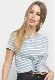 Blusa Adooro Listrada Tiras Feminina - Feminino-Azul+Branco