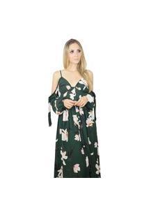 Vestido Longo Liage Estampado Floral Flores Alça Alcinha Decote V Botão Manga Ombro Aberto Verde Escuro Militar Musgo Preto Nude Rosa