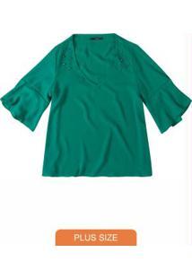 Blusa Verde Escuro Em Crepe Com Apliques Wee!