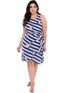 Vestido Art Final Plus Size Azul E Rosa Marry-54
