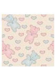 Papel De Parede Adesivo - Ursos Azuis E Rosas - 911Ppb