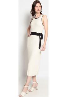 Vestido Longo Com Linho- Off White & Preto- Evaeva