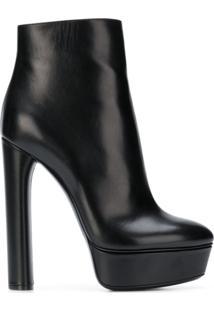 Casadei Ankle Boot De Couro Com Plataforma - Preto