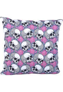 Capa Almofada Stooge Romantic Skulls Cinza