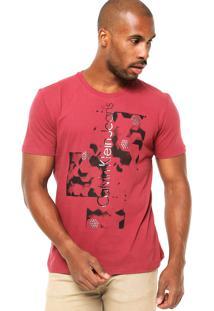 Camiseta Manga Curta Calvin Klein Jeans Escrita Hotfix Bordô/Preta