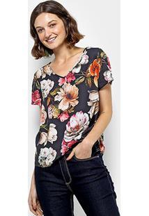 426ba3a6c ... Blusa Lança Perfume Estampada Floral Feminina - Feminino-Preto+Rosa
