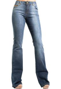 Calça Jeans Boot Cut Estonado Detalhes CouroAlphorria