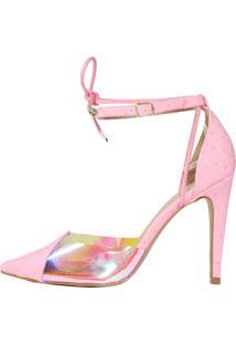 Scarpin Salto Alto Week Shoes Vinil Holográfico New Pele Rosa Tornozel - Tricae