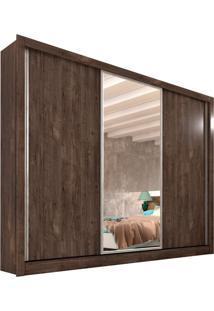 Guarda-Roupa Casal Flex Color Com Espelho Siena 3 Pt Cumaru Rustic E Off White
