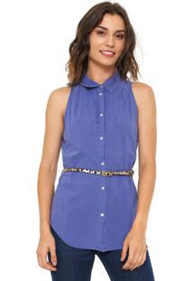 Camisa #Mo Pregas Azul
