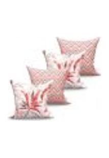 Conjunto De Capas De Almofadas Com 4 Peças Avalon Vivarti Vermelho E Bege 60X60 Cm