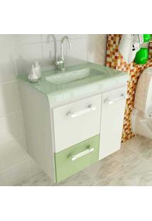 Gabinete Vetro 60 Cm 2 Portas 1 Gaveta Branco & Verde Tomdo