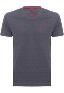 Camiseta Lisa 1/2 Malha Gola V - Jeans Aleatory Masculina - Masculino