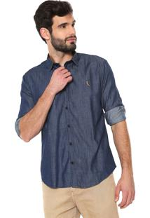 Camisa Jeans Reserva Reta Ml Azul-Marinho