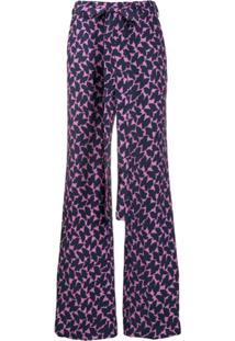 La Doublej Calça Pantalona Estampada - Azul