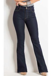 Calça Flare Jeans Escuro Sawary Com Bolsos