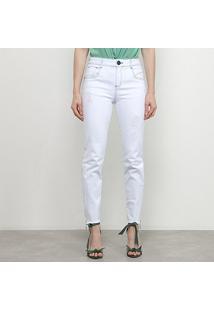 Calça Jeans Skinny Morena Rosa Puídos Feminina - Feminino-Branco
