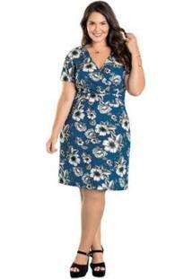 Vestido Plus Size Marguerite Decote Transpassado Feminino - Feminino-Azul Claro