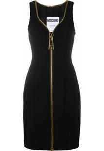 Moschino Vestido Oversized Com Zíper - Preto