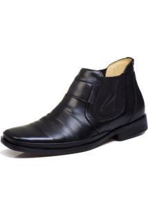Bota Botina Social Bico Fino Conforto Top Franca Shoes Preto