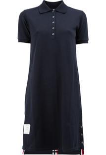 Thom Browne Vestido Com Contraste - Azul