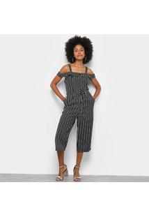 Macacão Lily Fashion Pantacourt Listrado Feminino - Feminino-Preto