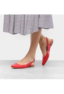 Sapatilha Drezzup Chanel Bico Fino Feminina - Feminino-Vermelho