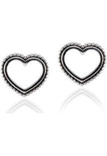 Brinco Giullia Ferraz Store Coração Vazado Prata - Feminino-Prata