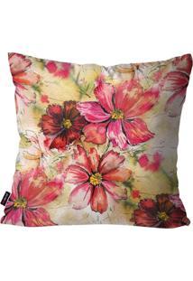 Capa De Almofada Decorativa Avulsa Rosa Floral 45X45Cm Pump Up