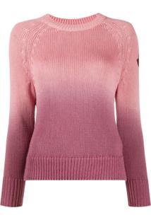 Moncler Suéter Degradê Com Patch De Logo - Rosa