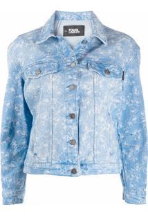 Karl Lagerfeld Jaqueta Jeans Com Estampa De Orquídea - Azul