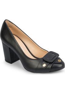 Sapato Tradicional Em Couro Com Recorte Frontal - Pretocapodarte