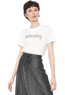 Camiseta Colcci Aplicaã§Ãµes Off-White - Off White - Feminino - Algodã£O - Dafiti