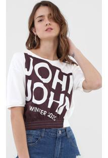 Camiseta Cropped John John Wine Off-White
