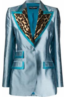 Dolce & Gabbana Blazer Com Recortes E Animal Print - Azul