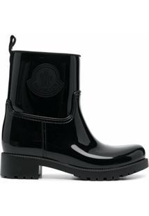 Moncler Ankle Boot De Couro Envernizado Com Detalhe De Logo - Preto