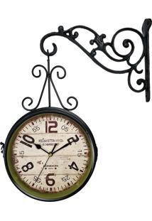 fed47f4e401 ... Relógio De Parede R3P Import Face Dupla Retrô Vintage Estilo Estação De  Trem De London 1894